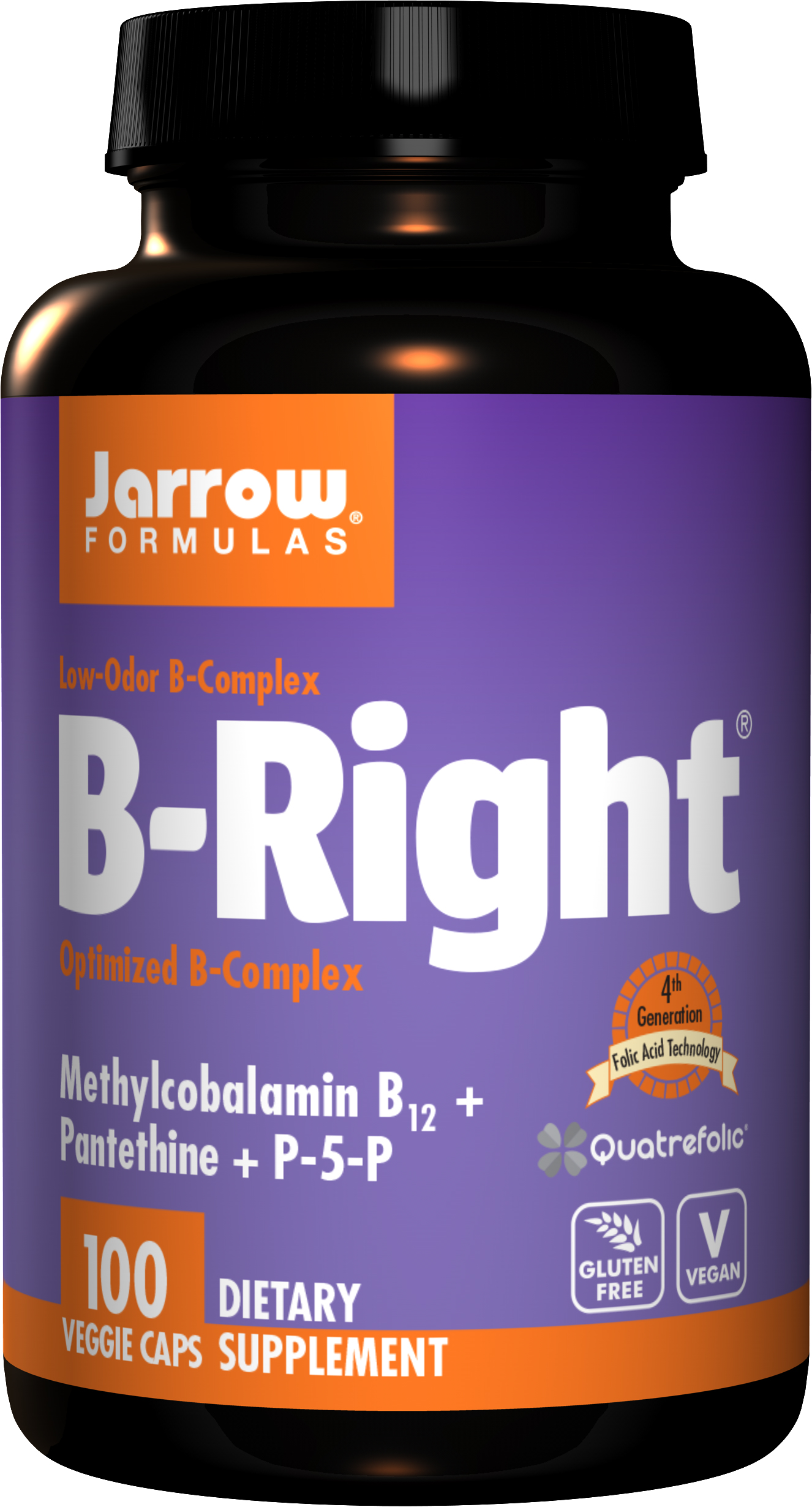 Jarrow B-Right, Vitamin B komplex, 100 rostlinných kapslí