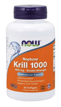 Neptun Krilový olej, dvojitá síla 1000 mg, 60 Softgels, NOW FOODS