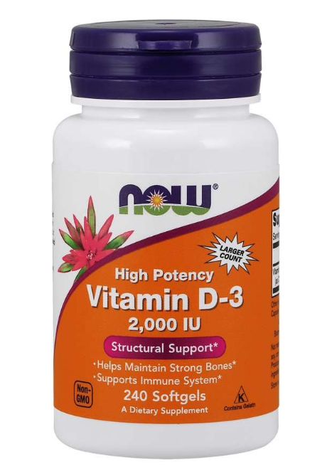 Now Vitamin D3 2000 IU x 240 softgel kapslí