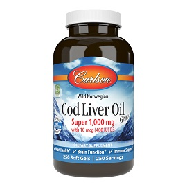 Cod Liver Oil Gems™, Super 1,000 mg, 250 softgels - Carlson