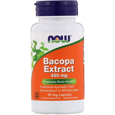 Now Foods, Bacopa Extrakt, 450 mg, 90 Veg kapslí